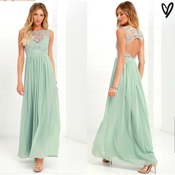 d8b942fd0a3 Lulu s Dresses   Skirts - LULU S SO FAR GOWN - SAGE GREEN LACE MAXI DRESS